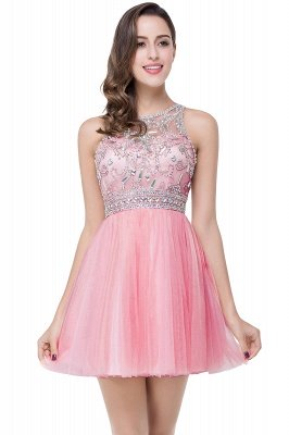 ELISA | A-line Crew Sleeveless Tulle Short Prom Dresses with Beadings_1