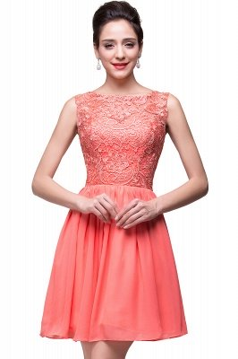 Cheap Short Chiffon Homecoming Dresses | Affordable Knee Length Chiffon Lace Party Dresses