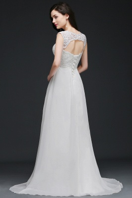 A-Line Sweep Trains Glamorous Wedding Dresses with Lace_5
