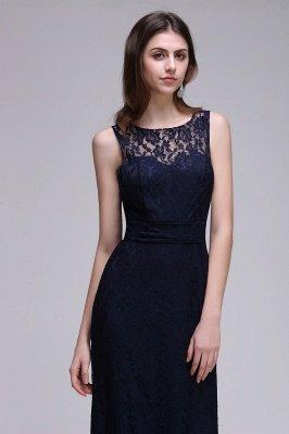 Simple Dark Navy Lace Bridesmaid Dresses Sleeveless Sheath Long Prom Dresses_4