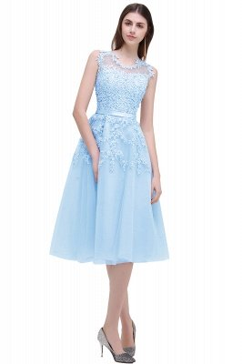 EMORY | Crew Tea Length Lace A-Line Appliques Short Prom Dresses_6