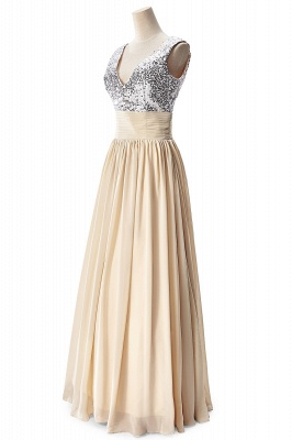 A-line V-neck Chiffon Party Dress With Sequined_9