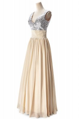 Cheap A-line V-neck Chiffon Party Dress With Sequined in Stock_9