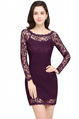 Lace Sheath Sexy Black Homecoming Dresses with Long Sleeves_3