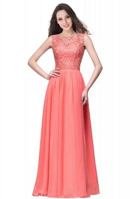 ELYSE | A-line Sleeveless Crew Floor-length Lace Top Chiffon Prom Dresses_1