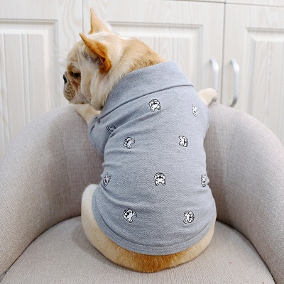 Gray Short Sleeve Dog T-shirt With Collar For small Puppy