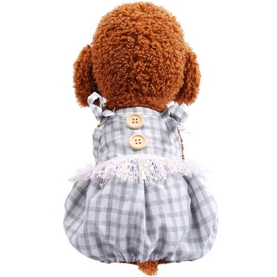 Cute Straps Grid Dog Jumpsuit Covered Belly | Pet Cloth For Small Dog_2