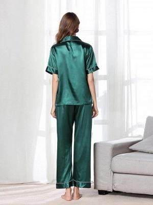 Imitate Short Sleeves Silk Pajamas_3