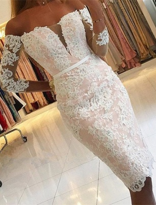 Off-the-Shoulder Sheath Long-Sleeves Pink Sexy Appliques Homecoming Dress_2