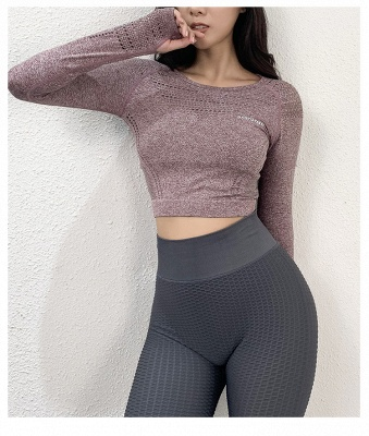 Fashion Sexy Women Two-piece Long Sleeve Yoga Sportswear | Gym Sports Suit_5