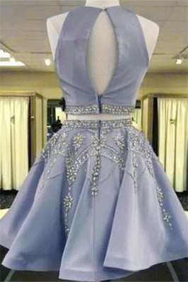 Two-Pieces Short Sleeveless A-line Gorgeous Crystal Homecoming Dress_3
