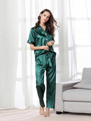 Imitate Short Sleeves Silk Pajamas_4