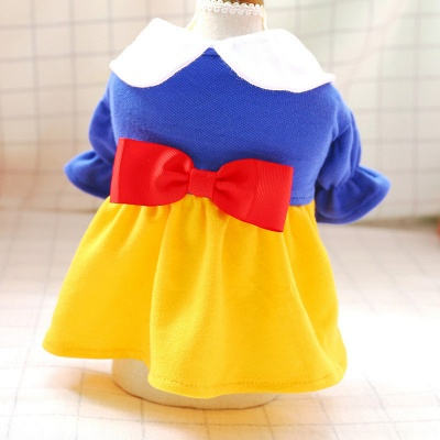 Short  Sleeve Bow Dog Skirt With Collar For Small Puppy_3