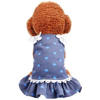Cute Summer Sleeveless Print  Flowers Lace Small Ruffles Dog Skirts_2