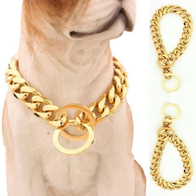 Stainless Steel Chain Dog Collar Big Gold Plated Curb Training Walking Slip Link_3