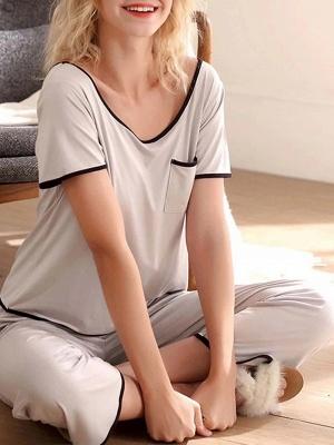 Comfortable Soft Short Sleeves Pajamas Set_1