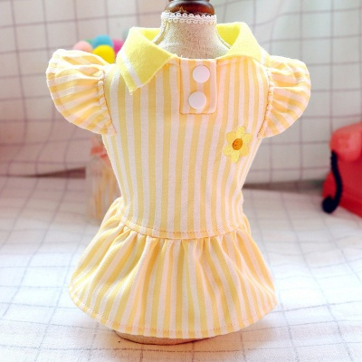 Yellow Stripe Short Sleeve Girl Dog Skirt With Collar_2