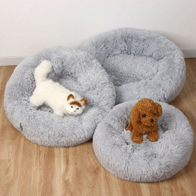 Donut Plush Pet Dog Cat Bed Fluffy Soft Warm Calming Bed_8