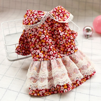 Lovely Short Sleeve Floral Dog Skirts | Pets Cloth With Ruffles_1