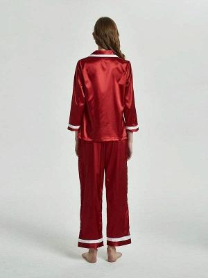 Women Imitated Silk Pajamas Sleepwear_2