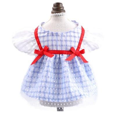 Short Sleeve Grid Bow  Pets Cloth_5