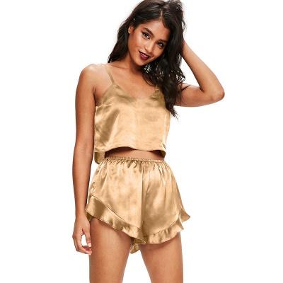 Women's Sexy Imitate Silk Pajamas Set_3