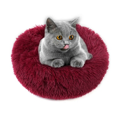 Donut Plush Pet Dog Cat Bed Fluffy Soft Warm Calming Bed_11
