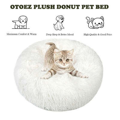 Donut Plush Pet Dog Cat Bed Fluffy Soft Warm Calming Bed_10