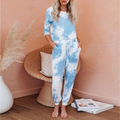 Casual Tie-dyed Home Clothes Twinset_4