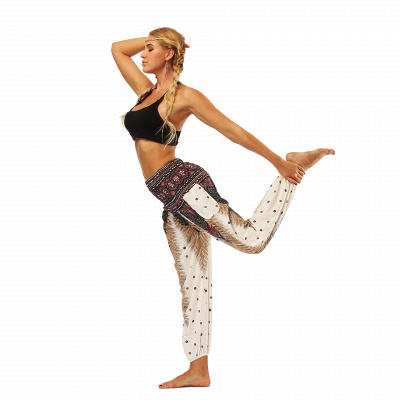 Printed Long Sports Loose High Waist Exercise Yoga Pants_6