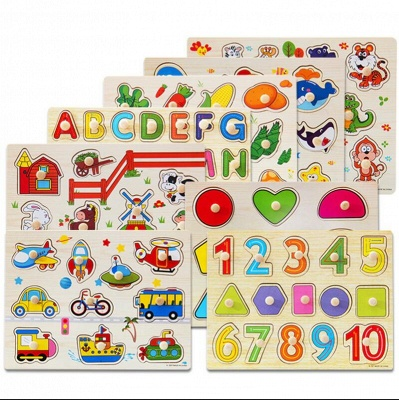 Montessori wooden Puzzle Educational Wooden Baby Cartoon Toys_3