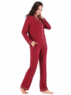 Women's Sleepwear Sets Imitate Silk Pajamas_4
