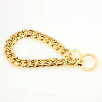 Stainless Steel Chain Dog Collar Big Gold Plated Curb Training Walking Slip Link_4