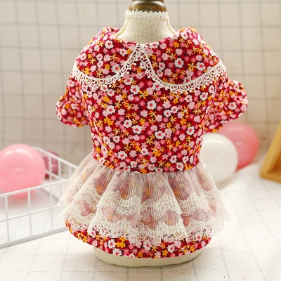 Lovely Short Sleeve Floral Dog Skirts | Pets Cloth With Ruffles_5