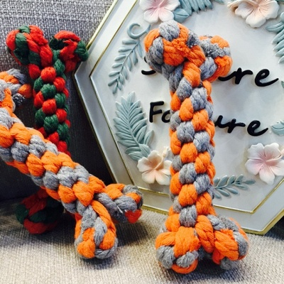 Colorful Durable Braided Bone Rope Pets Dog Cotton Chews Knot Toys_4