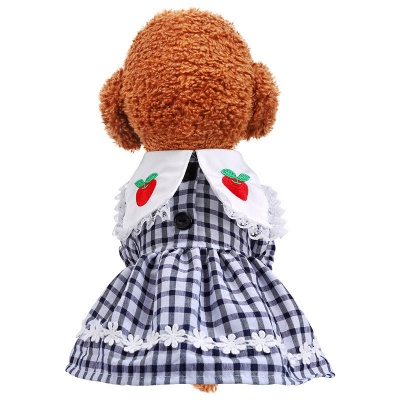 Lovely Grid Short Sleeve Puppy Skirt | Pet Cloth With Flower_4