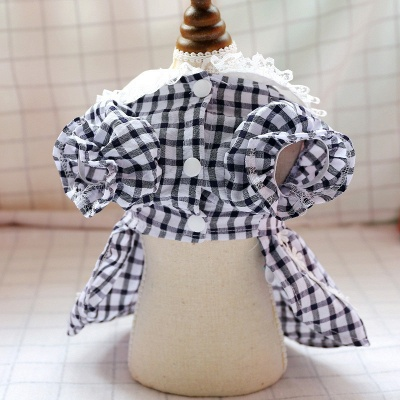 Lovely Grid Short Sleeve Puppy Skirt | Pet Cloth With Flower_2