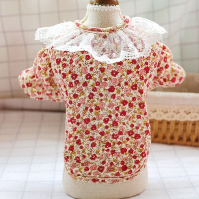 Cute Short Sleeve Floral Lace Puppy Skirt_2