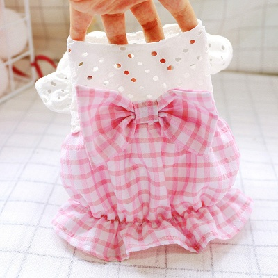 Dog Summer Pink Checked Bow Bud Hollowed-out Skirt Pet Costume_3