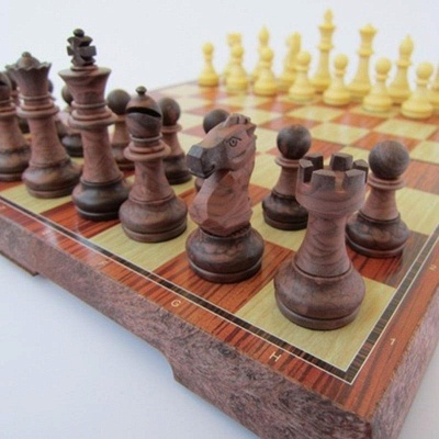 International Chess Checkers Folding Grain Board Chess Game_3