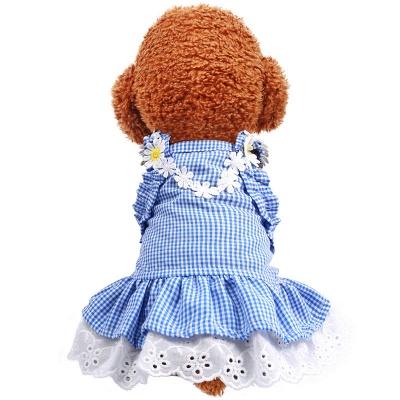 Summer Blue Sleeveless Grid Lace Dog Skirts_2
