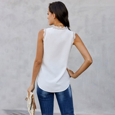Women's Fashion Sleeveless Lace Chiffon Top_5