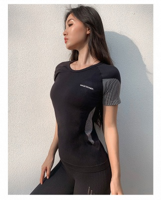Women Short Sleeve Summer Fashion Breathable Sports Yoga Suit With Long Pants_2