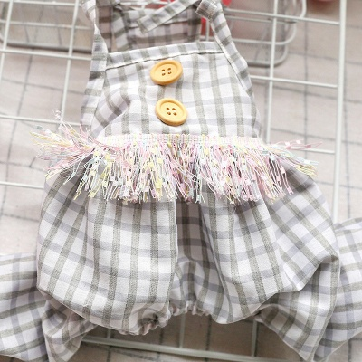 Cute Straps Grid Dog Jumpsuit Covered Belly | Pet Cloth For Small Dog_4