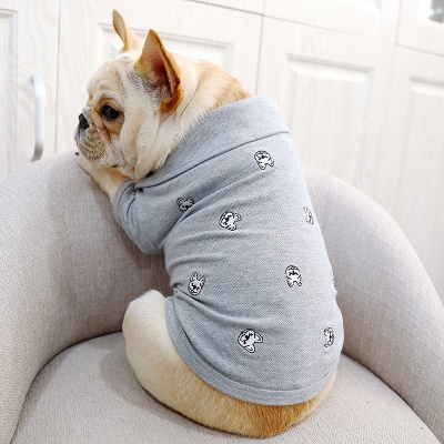 Gray Short Sleeve Dog T-shirt With Collar For small Puppy_4