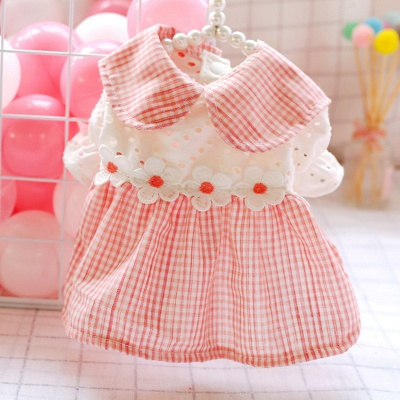 Adorable Pink Grid Short Sleeve Pet Skirt Covered Belly_2