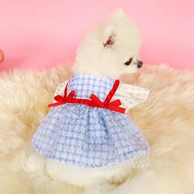 Short Sleeve Grid Bow  Pets Cloth_3