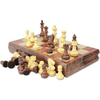International Chess Checkers Folding Grain Board Chess Game_2