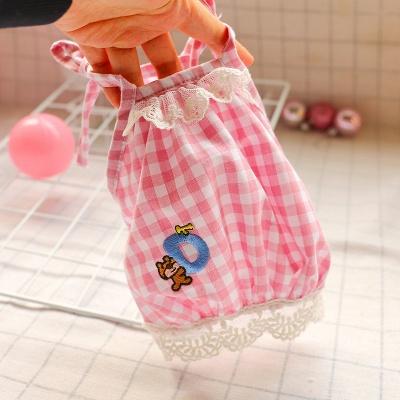Pink Straps Grid Lace Pets Cloth_2