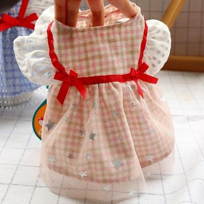 Short Sleeve Grid Bow  Pets Cloth_4
